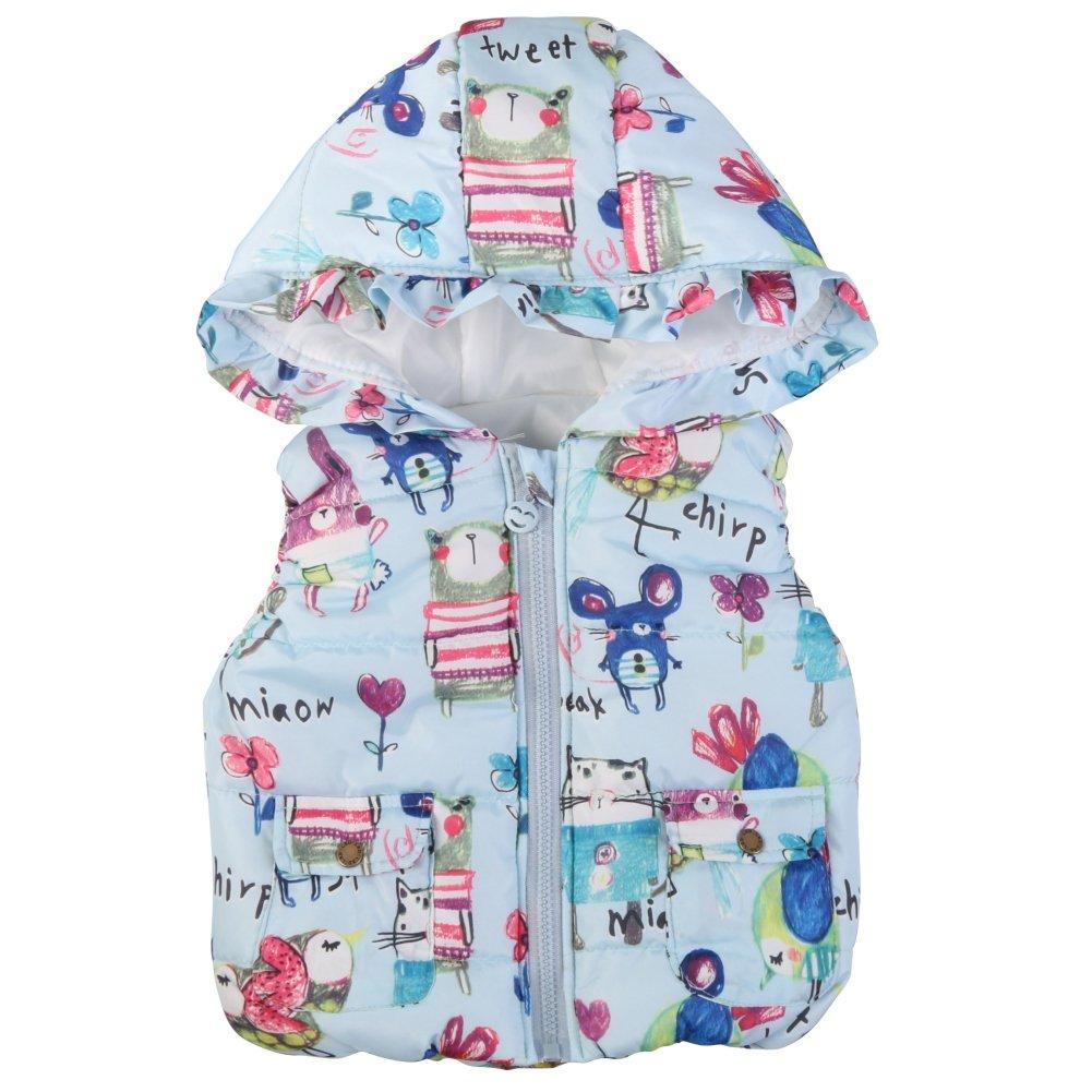BOBORA Little Girls Vest Coat Kids Graffiti Print Hooded Down Waistcoat BON-N-1652