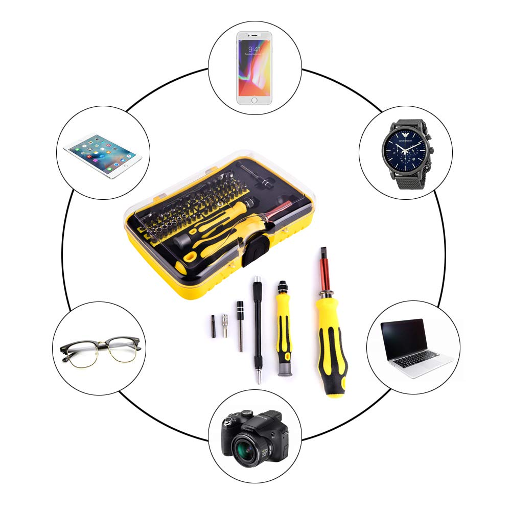 Professional Magnetic Screwdriver Set - Precision,56 Kinds of Magnetic Screwdriver Bits Apply to Phone, iPhone, iPad, Watch, Tablet, PC, MacBook Laptop and More
