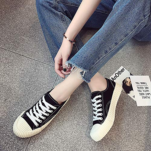 Amarillo Flat Heel amp; Black Shoes Toe de Canvas Summer Comfort Side Round Sneakers Negro Spring Rojo Mujer Draped Zapatos ZHZNVX Vulcanized xUPR7zAz