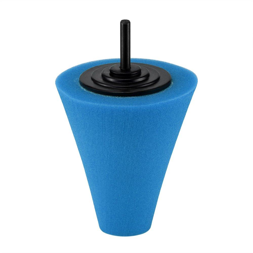ONEVER A forma di cono lucidatura tamponi per lucidatura spugna Cono Pad schiuma metallica per Tool Hub Rotella di automobile di pulizia -Blue