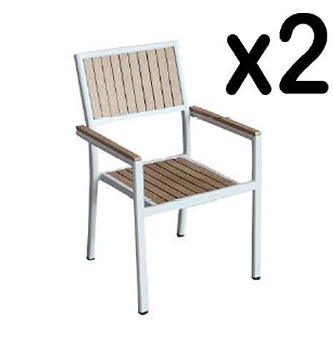 Juego de 2 sillas apilables resina, Wood, colores nogal 56 x ...
