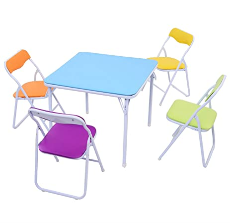 Kids Folding Table And Chairs Play Set Activity Furniture Multicolor 5 Piece
