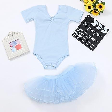 Girls Clothes Sets,Baby Girl Gymnastic Leotard Ballet Dancewear Bodysuits Dance Costume Jumpsuits Romper+Tutu Skirt 2PCS Cute Outfits Set Light Blue, 4-5 Years