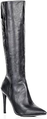 Damen Stiefel mit Stiletto Absatz Kniehoch Vorn spitz