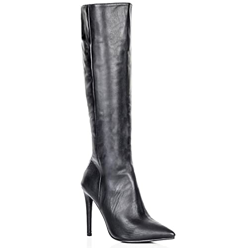a93ded23a6f Perfect Me LADIES STILETTO HEEL WOMENS KNEE HIGH POINTED LONG BOOTS FAUX  LEATHER ZIP SIZE