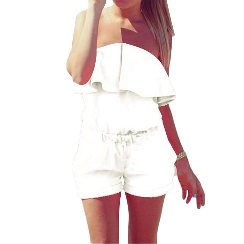 Rainlife Womens Solid JumpsuitBodysuit Elastic High Waist Jumpsuit White 5XL