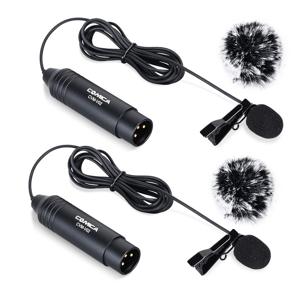 Comica CVM-V02O Phantom Power Omni-directional XLR Lavalier Lapel Microphone for Canon Sony Panasonic Camcorders ZOOM H4n H5 H6 Tascam DR-40 DR05 DR-701D DR-60D DR-70D  DR-100 Recorders (1 pack)