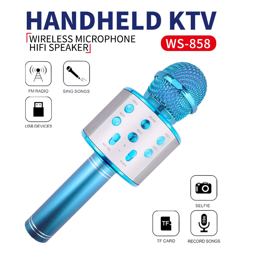 Karaoke Microphone for Kids, Birhday Gifts for 4-12 Year Old Girls Kids Singing Karaoke Microphone for Kid Toy Age 5-10 Girl Kids Music Gift for Kid Girls Bule Mic by KIMMI (Image #1)