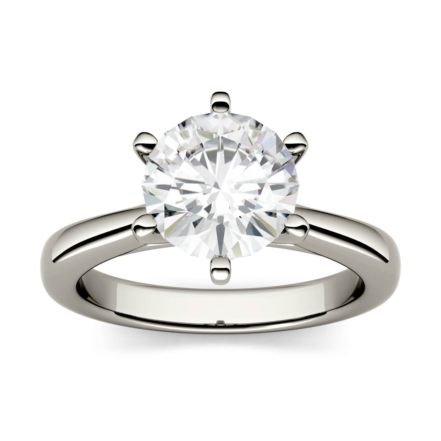 White Gold 8mm Moissanite by Charles & Colvard 6-Prong Solitaire Engagement Ring-size 5, 1.9cttw DEW by Charles & Colvard