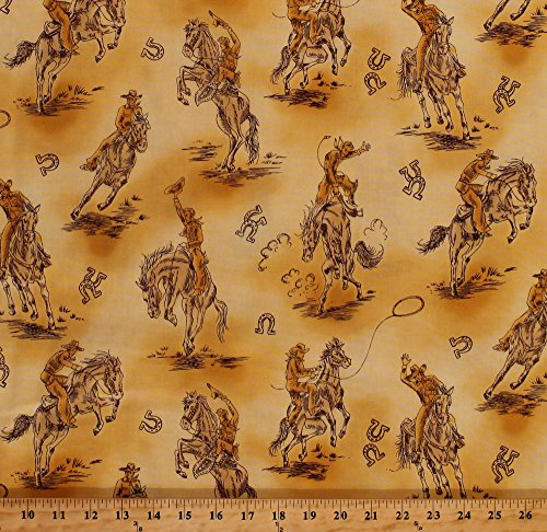 [Cotton Cowboys Horses Lassos Old West Wild Southwest Southwestern Bucking Bronco Rancher Ranch Farm Horseshoes New Frontier Cotton Fabric Print by the Yard (etj-6626-158)] (Cowboy Print Fabric)