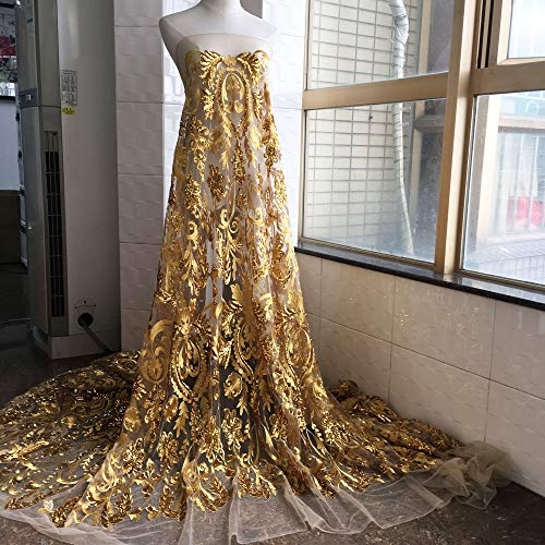 Luxury Gold Sequined Lace Fabric Embroidery Floral Lace Bling Paillette Lace Mesh for Dance Costumes Evening Gown 59 inches Width Sold by 1 Yard (Embroidery Fabric Gold)
