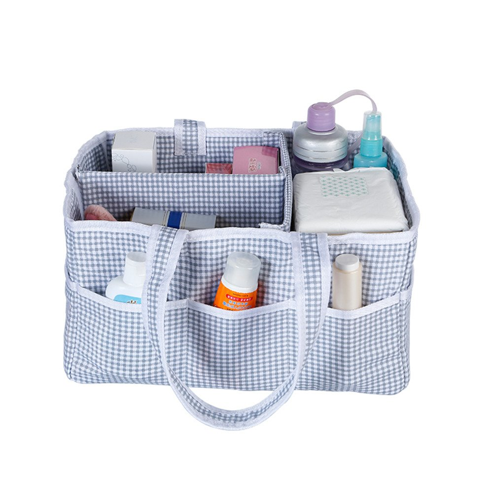 TechCode Baby Diaper Caddy Organizer, Nappy Changing Storage Bag Foldable Diapers Organizer Nursery Portable Lightly Multifunction Changeable Compartments for Mom Newborn Kids Nappies Toys