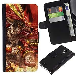 """JackGot ( Blood Killer Lobo Guerrero"""" ) Samsung Galaxy S4 Mini i9190 (NOT S4) la tarjeta de Crédito Slots PU Funda de cuero Monedero caso cubierta de piel"""