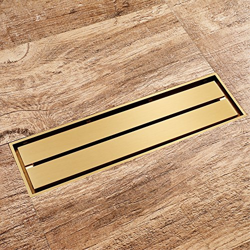 Bathroom Golden Floor Drain Brass Shower Drain Rectangle Shower Drain Embedded Shower Channel with Hair Strainer for Bathroom Hotel ()