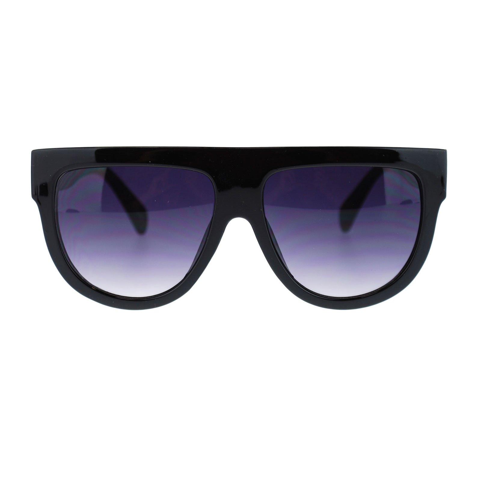 Womens Flat Top Thick Plastic Oversize Boyfriend Fit Sunglasses Black