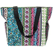 Large Multi - Pocket Fashion Zipper Top Beach Bag Tote - Custom Embroidery Available