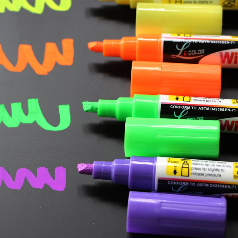8 Pack Chalk Marker Pen Dry Erase Markers 6mm Reversible Bullet & Chisel Tip Fluorescent Markers Highlighters for LED Menu Board Bistro Board AD Drawing POP Art Glass Window Blackboard WhiteBoard by Starsouce (Image #3)