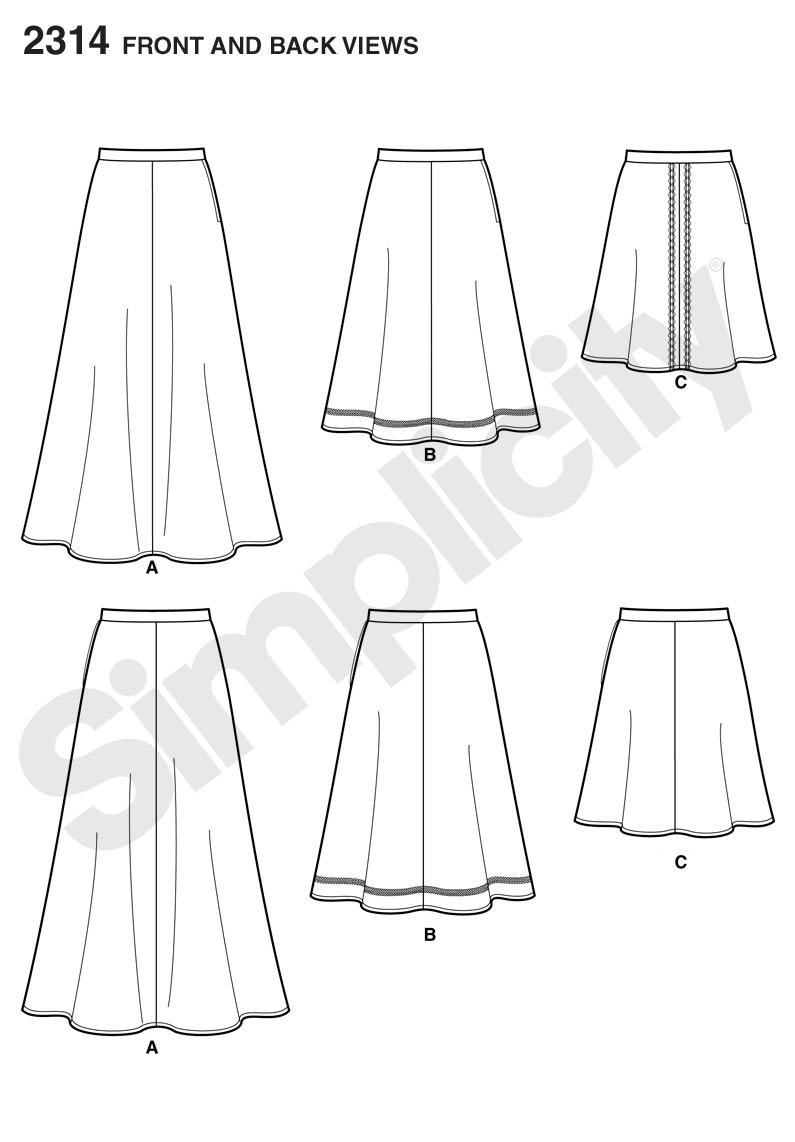 Simplicity Learn To Sew Mid To Long Size Womens Skirt Sewing Pattern Sizes 6-18