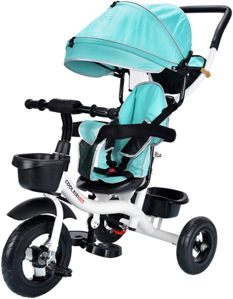 YWZQ Triciclo de niños, Niño Niña Protección Ambiental Bicicleta Marco de Acero de Alto Carbono Toldo Ajustable de Tres velocidades Carrito de bebé Juguete para niños Regalo,Green