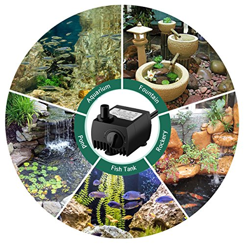 VicTsing Upgraded 80 GPH (300L/H, 4W) Submersible Water Pump, 48 Hours Dry Burning Water Pump with 5.9ft (1.8m) Power Cord