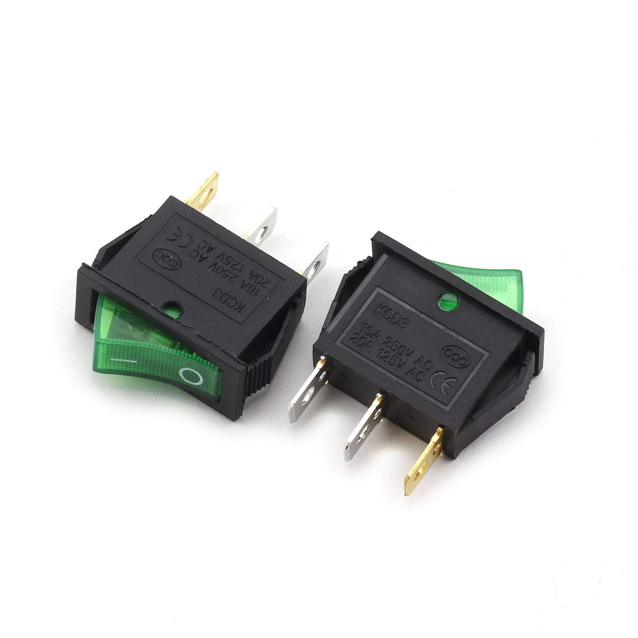 Longdex 5pcs AC 250V 16A ON//Off Boat Rocker Switch Small Appliances Power Switch 2 Position I-O 3Pin SPST Green Button Switch with Light