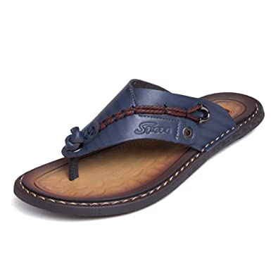 a29168fb96a67 Sandals Men Classic Leather Anti-skidding Flip-Flops Beach Slippers Outdoor
