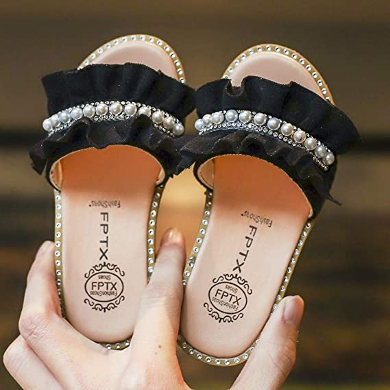 Baby Toddler Girls Summer Slippers Sandals for 1-6 Years Old Kids Children Pearls Crystal Ruffles Princess Shoes