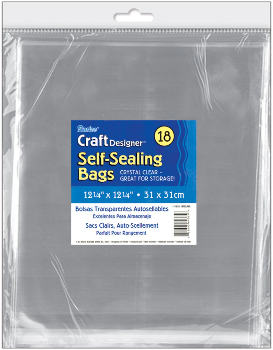 Darice 1115-20 18/Pack Plastic Self Sealing Bags, 12-1/4 by 12-1/4-Inch, Clear