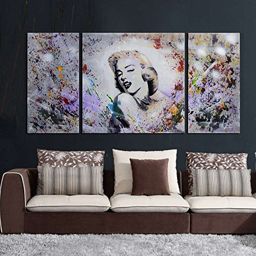 Dream Oil Painting - ARTLAND Modern 100% Hand Painted Oil Painting on Canvas Dream Marilyn Monroe 3-Piece Famous People Framed Wall Art Ready to Hang for Living Room Artwork for Wall Decor Home Decoration 20x40inches