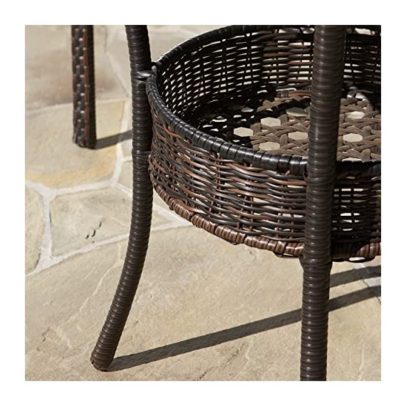 "Christopher Knight Home Del Mar Outdoor Multibrown Wicker 5pc Dining Set - Chair: 24"" D x 24"" W x 32.25"" H, Seat: 18.25"" D x 18.5"" W x 16.50"" H, Table: 34"" D x 34"" W x 28.70"" H Constructed with multibrown PE wicker on a metal frame 5pc set includes 4 chairs and 1 round glass table top - patio-furniture, dining-sets-patio-funiture, patio - 61wDIaONV7L. SS570  -"