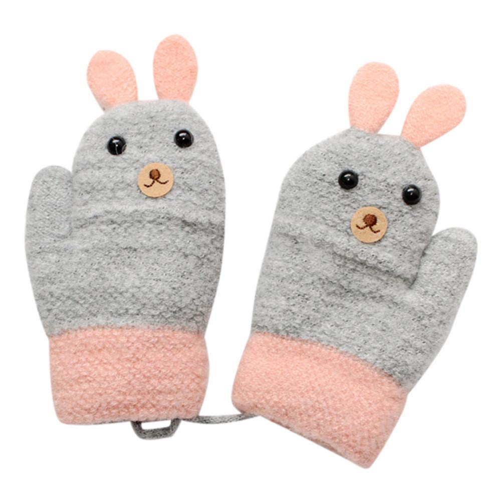 Little Kids Winter Gloves,Jchen(TM) Toddler Baby Thicken Girls Boys Rope Full Finger Warm Knitted Mittens Gloves for 0-3 Y