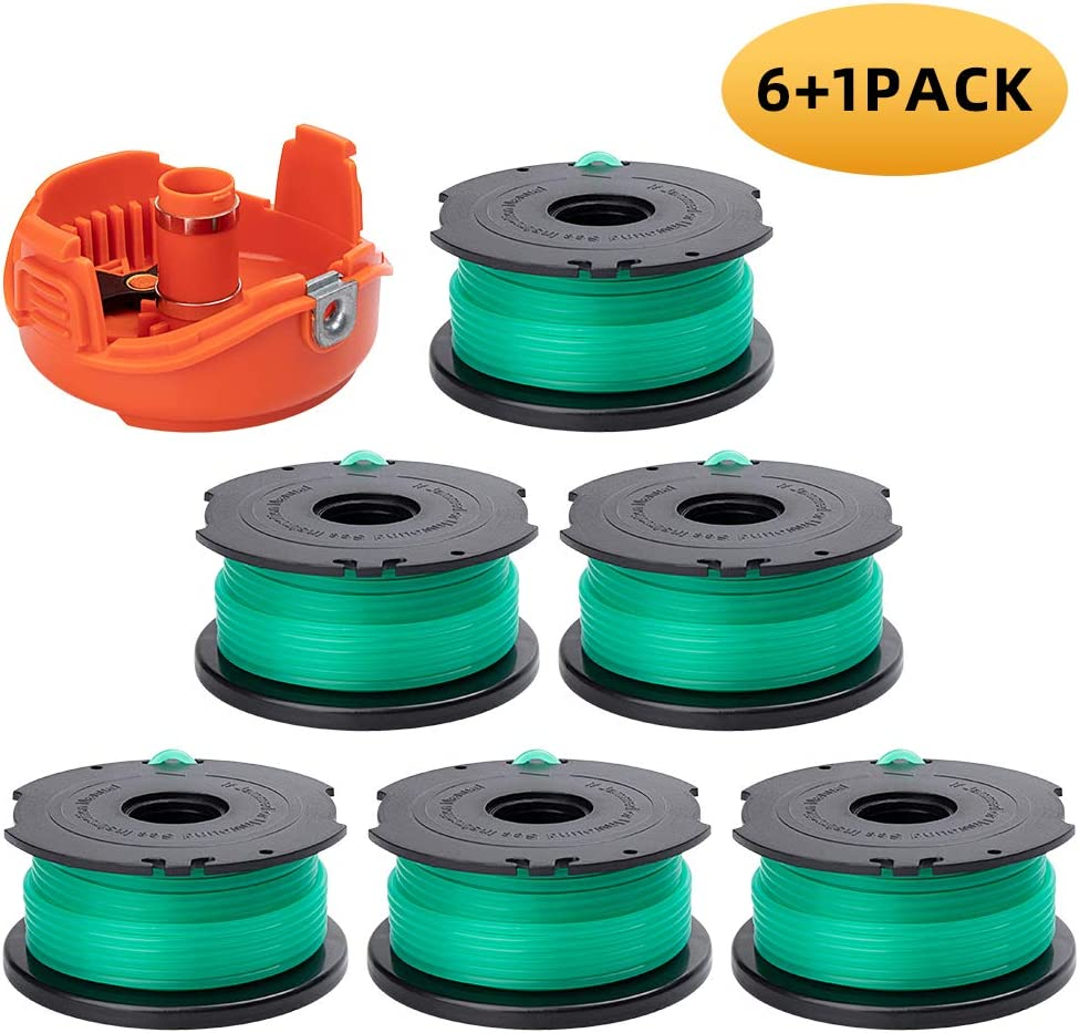 "ZONOWN 6 Pack Weed Eater Replacement Spools Compatible with Black&Decker String Trimmer SF-080 GH3000 GH3000R LST540 LST540B, 20ft 0.080"" Trimmer Line with 90583594 Spool Cap (6 Spools, 1 Caps)"