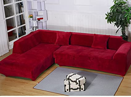 Remarkable Getmorebeauty L Shape Sectional Thick Plush Velvet Couch Stretch Sofa Cover Red L Shape 3 3 Seats Pabps2019 Chair Design Images Pabps2019Com