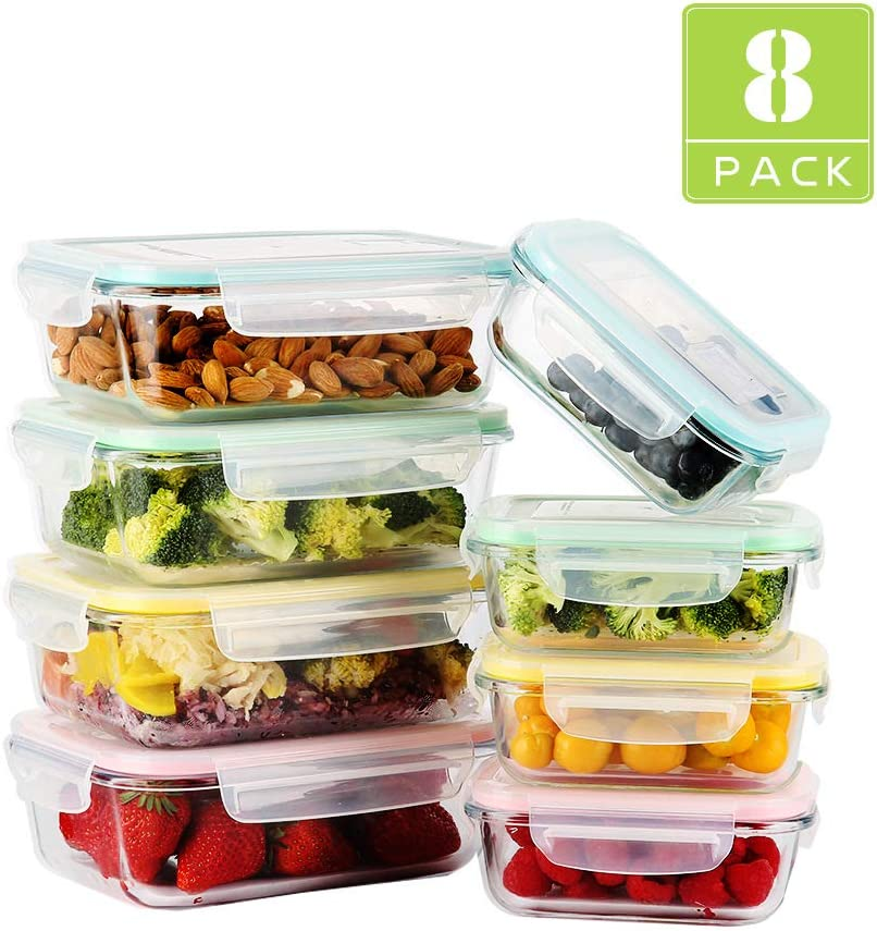 [8-Pack] Glass Food Storage Containers with Lids, Meal Prep Glass Container, Airtight Glass Lunch Boxes, Microwave, Oven, Freezer and Dishwasher Safe, 2 Size and 4 Colors, 【4 x 34OZ, 4 x 12OZ】