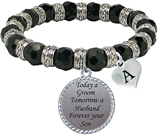 product image for Custom Today Groom Tomorrow Husband Forever Your Son Glass Bracelet Bridal Party Choose Initial Choose Color