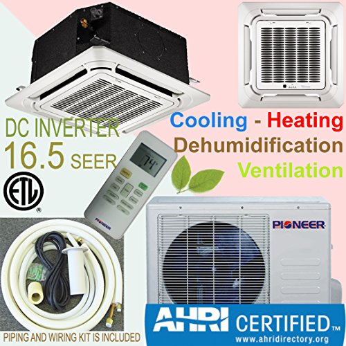Lowest Price! Pioneer Ceiling Cassette Split Ductless Inverter+ Heat Pump System Set, 12000 BTU