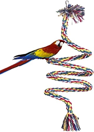 Bird Cockatiel Bell Perch Chew Climbing Rope Budgie Coil Swing Cage Toy