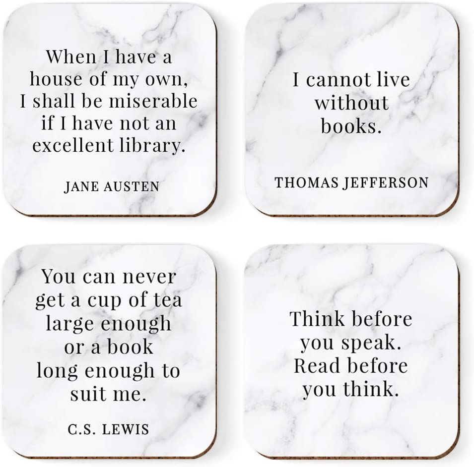 Andaz Press Book Reading Square Coffee Drink Coasters Gift, When I Have a House of My own, I Shall be miserable if I Have not an Excellent Library, Jane Austen, 4-Pack, Gifts