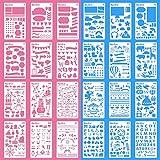 #3: Bullet Journal Supplies 24 Pieces Plastic Planner Stencils Journal/Notebook/Diary/Scrapbook DIY Drawing Template Stencil 4x7 Inch
