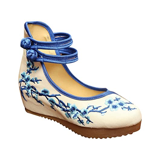 Zhhlaixing Vintage Chinese Style Women Embroidered Shoes Comfortable Non-Slip Shoes FjJy9yTg