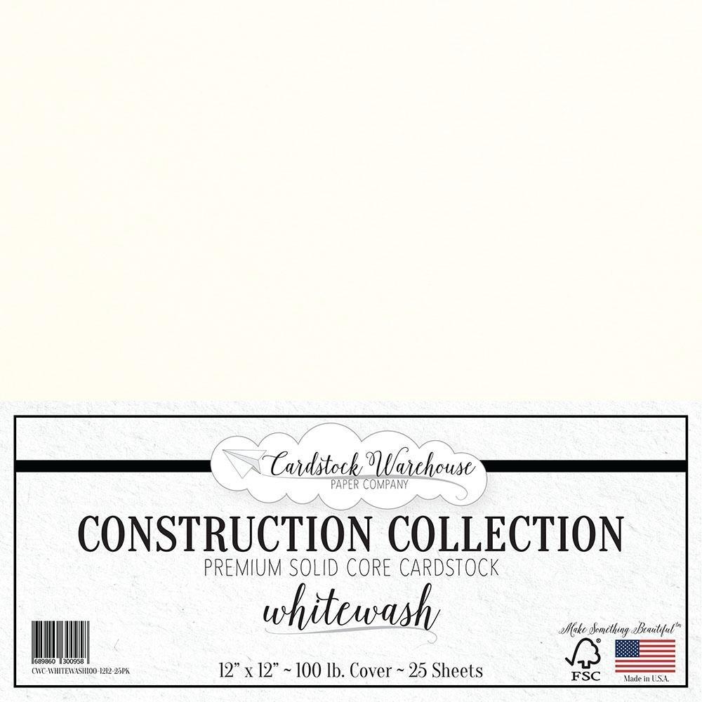 ホワイトウォッシュ ホワイトカードストックペーパー - 12 x 12インチ プレミアム100ポンド Cardstock Warehouse 25枚セット B01LXD4V9D