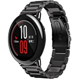 Sikye Replacement Watch Band Stainless Steel Bracelet Smart Watch Band Strap For Xiaomi Huami Amazfit A1602 (Black)