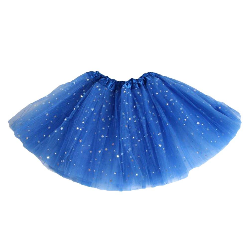 Falda Baile Chicas Mini Faldas - Falda Tul Tutú Faldas Cortas Ballet Vestir Lentejuelas Princesa 11 Colores Blanco Rosa Rojo Verde Negro Azul Morado Yying R171012TT03-Y