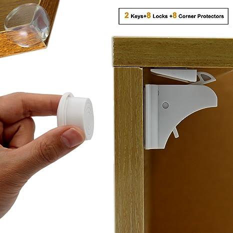 Cerraduras de gabinete magnéticas - Cerraduras de seguridad para niños para gabinete de armarios Armario de
