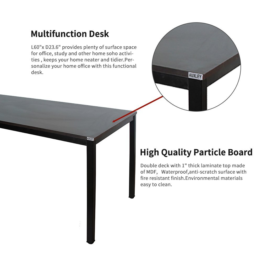 Deck Screen Desk Office Furniture Intended Amazoncom Auxley Computer Desk Modern Simple Office Writing For Home Office Double Deck Wood And Metal Table 60 Black Products