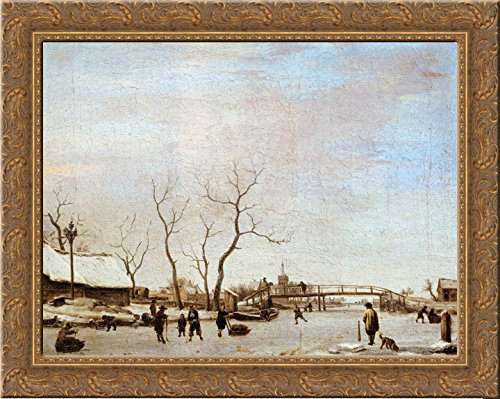 Frozen Canal with Skaters and Hockey Players 24x20 Gold Ornate Wood Framed Canvas Art by Adriaen van de Velde