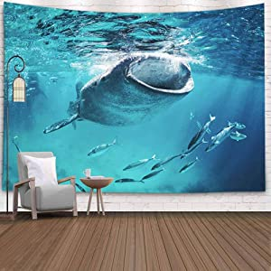 KIOAO Tapestry Wall Art Dorm Tapestry,Tapestry for Women College Tapestry Whale Shark Eating Surface Fish Dorm Room Tapestry 80X60Inch Tapestry for Man