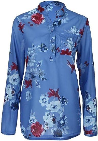 Camisa Mujer Manga Larga Blusas Floreadas V-Cuello Esencial Camisas Señoras Primavera Otoño Vintage Moda Casuales Elegantes Camicia Bluse Tops: Amazon.es: Ropa y accesorios