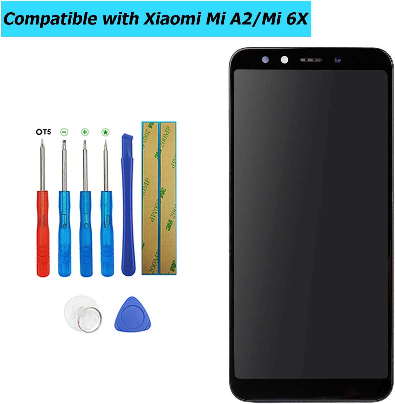 Upplus - Pantalla LCD de Repuesto Compatible con Xiaomi Mi A2/Mi 6X, Pantalla táctil LCD con Marco, con Kit de Herramientas (Negro)