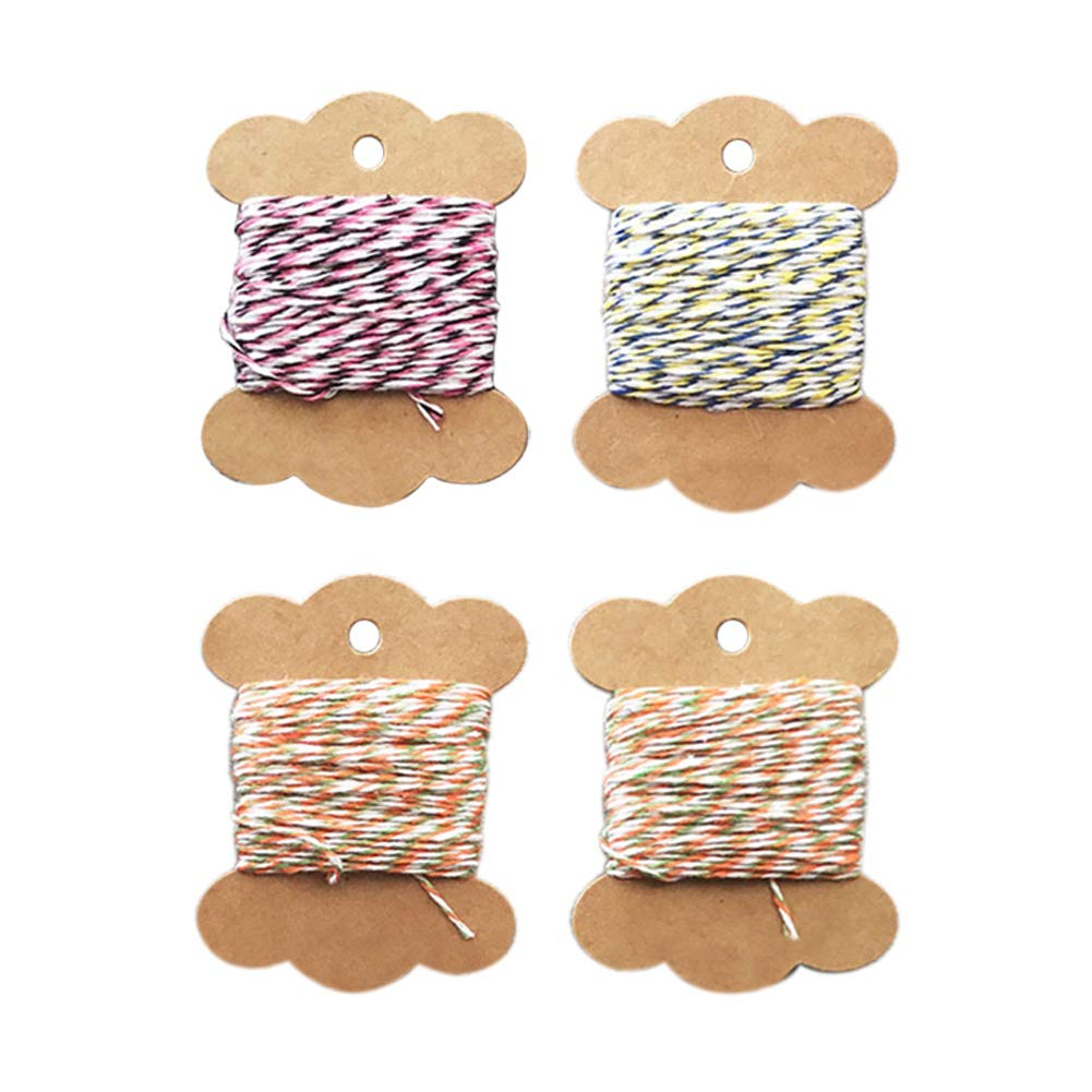 Pveath Jute Twine,8 Rolls Gift Twine Colorful Bakers Twine DIY Packing Twine Natural Cotton Twine for Gifts Arts Crafts 8 Colors